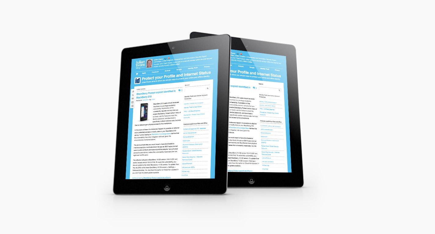 Julian Evans Blog on the iPad